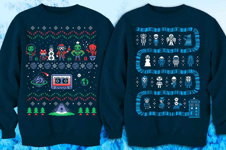 Nerdy sweatshirt designs based on ugly Xmas sweaters ...